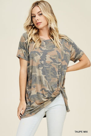 Camo Front Twist Tee - Blush Boutique