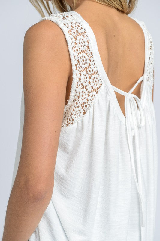 Crochet Detail Tank - Blush Boutique