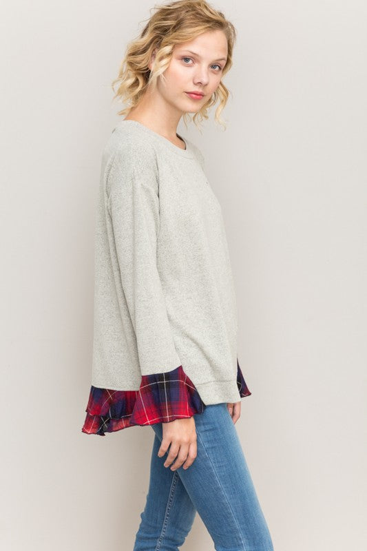 Plaid Trim Top - Blush Boutique