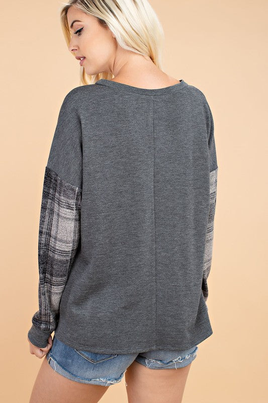French Terry Top with Plaid Sleeves - Blush Boutique