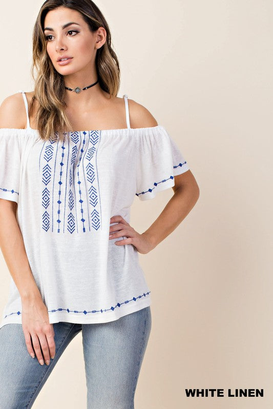 Embroidered Off-Shoulder Top - Blush Boutique