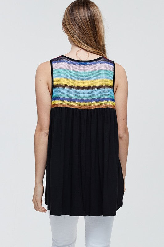 Striped Top Sleeveless Tunic
