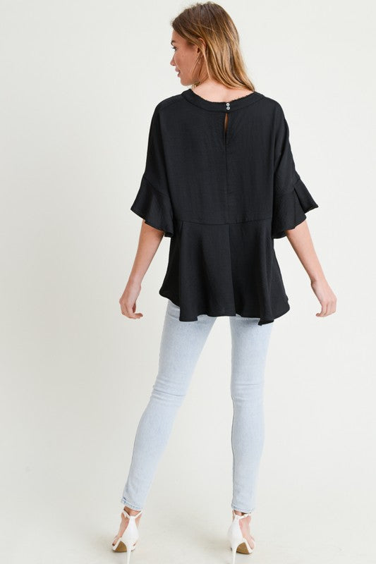 Ruffle Sleeve Top - Blush Boutique