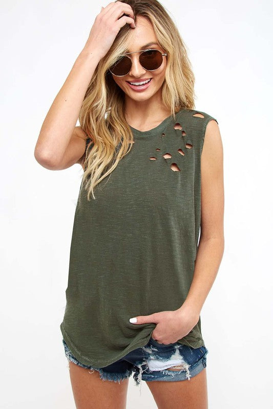 Distressed Slub Jersey Tank - Blush Boutique