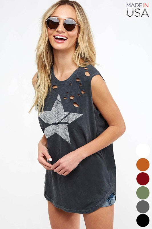 Distressed Star Graphic Tank - Blush Boutique
