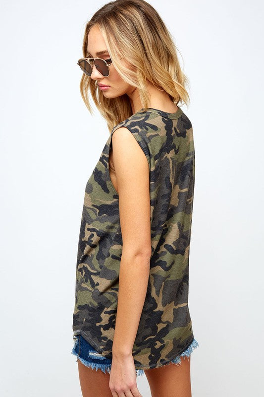 Distressed Camo Tank Top - Blush Boutique