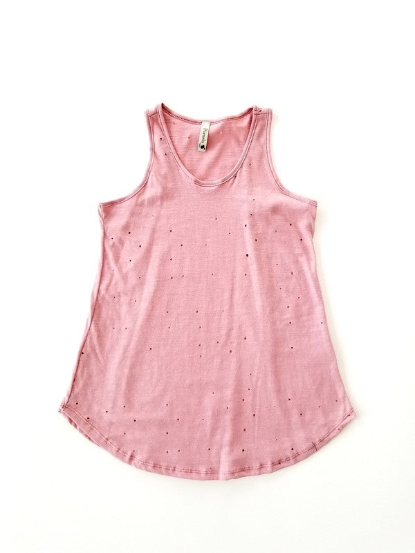 Girls Distressed Tank - Blush Boutique