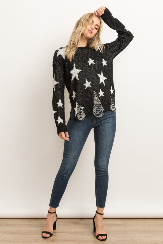 Distressed Star Sweater - Blush Boutique