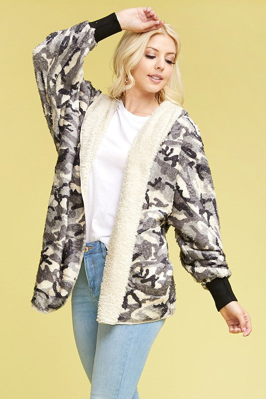 Camo Bear Coat - Blush Boutique