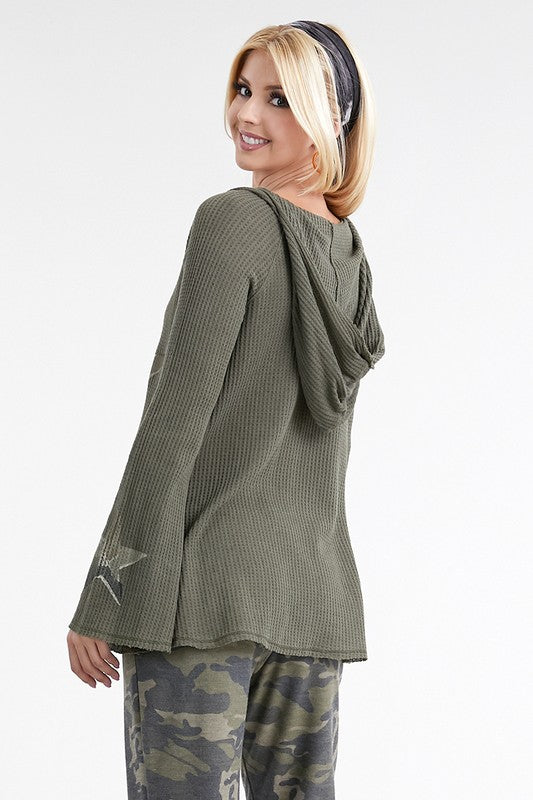 Camo Star Hoodie Top - Blush Boutique