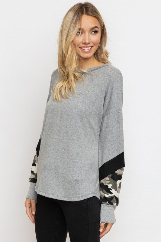 Camo Sleeve Dolman Top - Blush Boutique