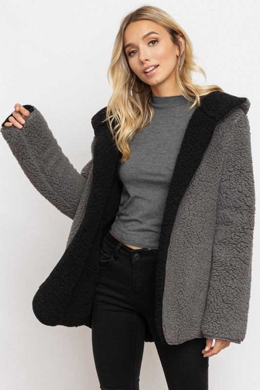 Reversible Bear Coat - Blush Boutique