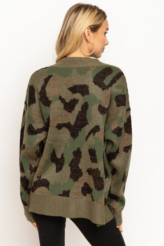 Camo Cardigan - Blush Boutique