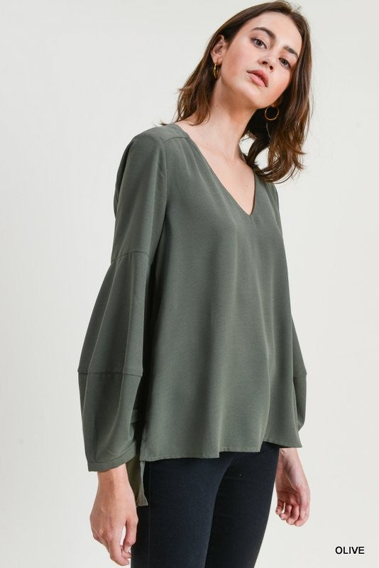 Solid V-Neck Puff Sleeve Top - Blush Boutique