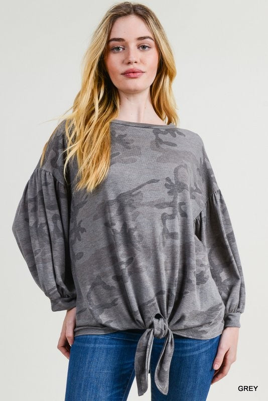 Camo Balloon Sleeve Knot Top - Blush Boutique