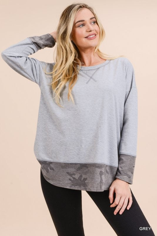 Camo Contrast Long Sleeve Top - Blush Boutique