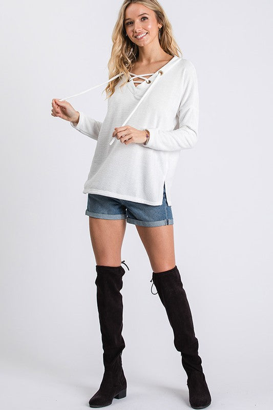 Lace Up Textured Top - Blush Boutique