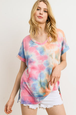 Tie-Dye V-Neck Top with Rolled Sleeves