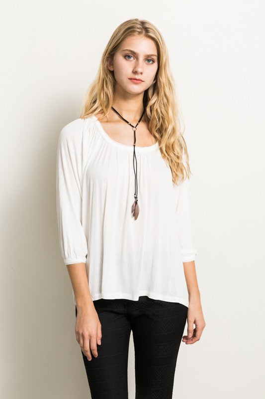 Scoop Neck Relaxed Top - Blush Boutique