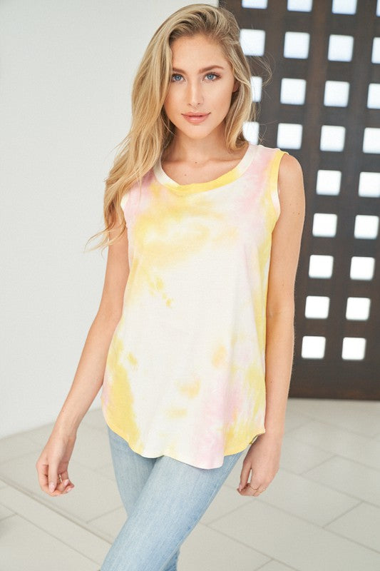 Sleeveless Tie Dye Distressed Top-Yellow/Pink