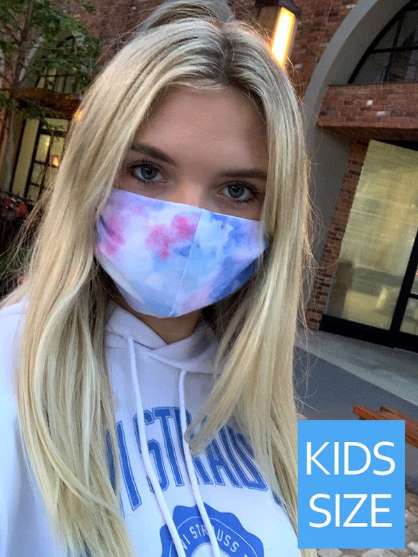 Girls Tie Dye Mask-Pink & Blue - Blush Boutique