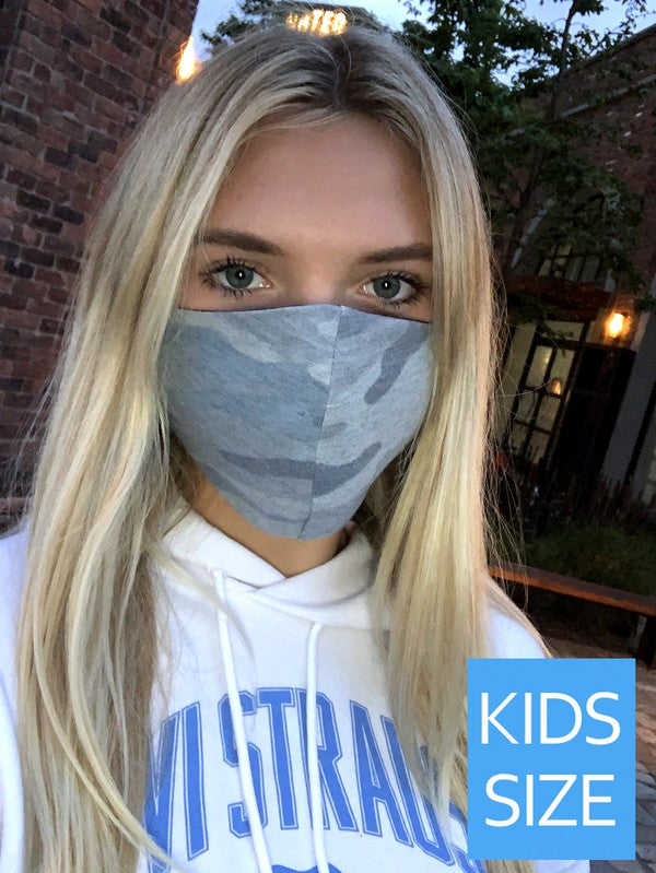 Kids Blue Camo Mask - Blush Boutique