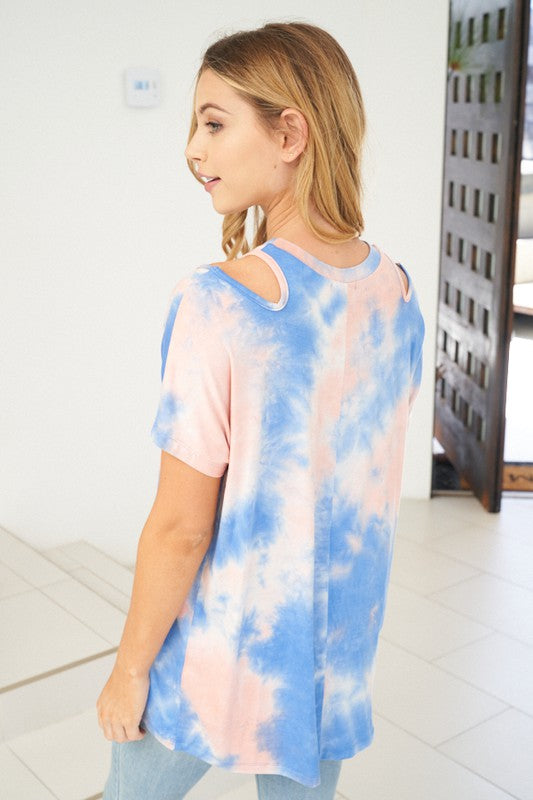 Tie Dye Shoulder Cutout Top