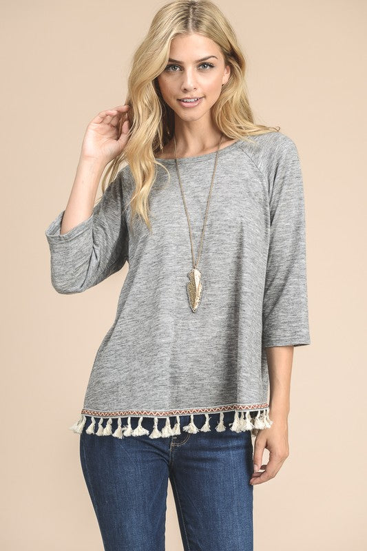 Tassle Hem Tunic - Blush Boutique