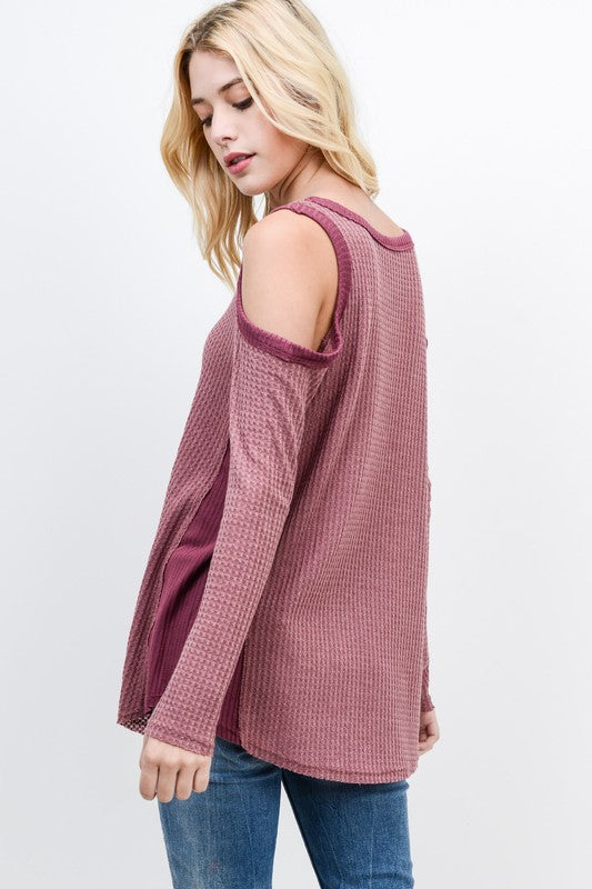 Waffle Thermal Cold Shoulder Top - Blush Boutique