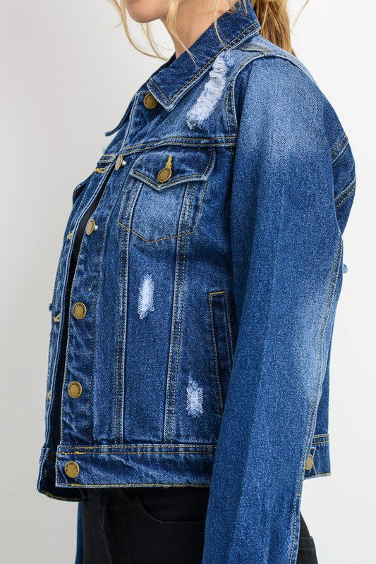 Distressed Classic Denim Jacket - Blush Boutique