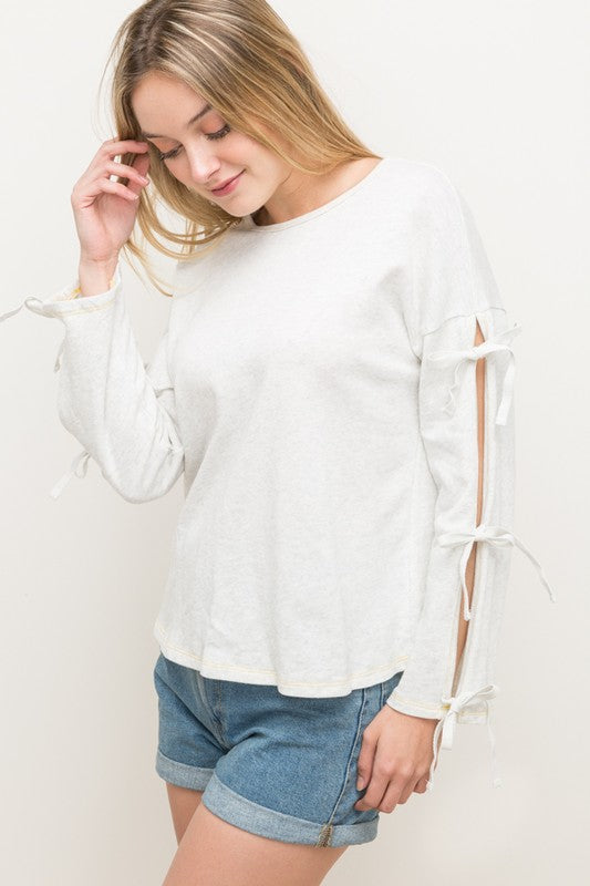 Tie-Sleeve Pullover Top - Blush Boutique