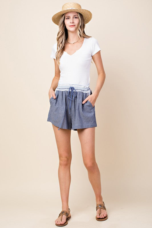 Denim Stripe Waist Shorts - Blush Boutique