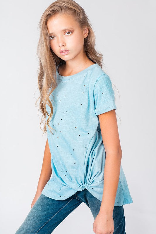 Girls Distressed Front Twist Top - Blush Boutique