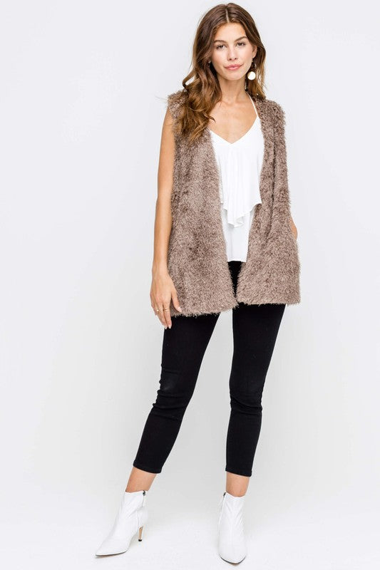 Fuzzy Vest - Blush Boutique