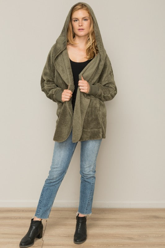 Olive Bear Coat-Preorder - Blush Boutique