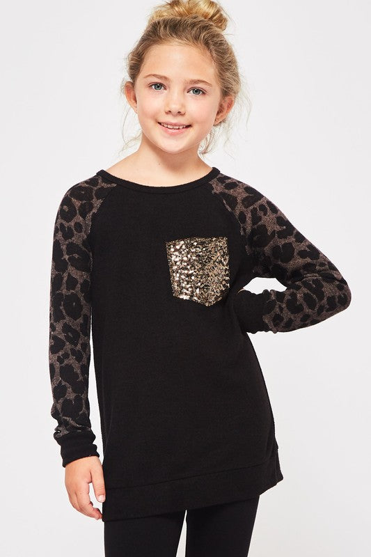 Girls Leopard Sweater with Sequin Pocket - Blush Boutique