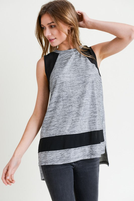 Space Dye Tank with Sheer Detail - Blush Boutique