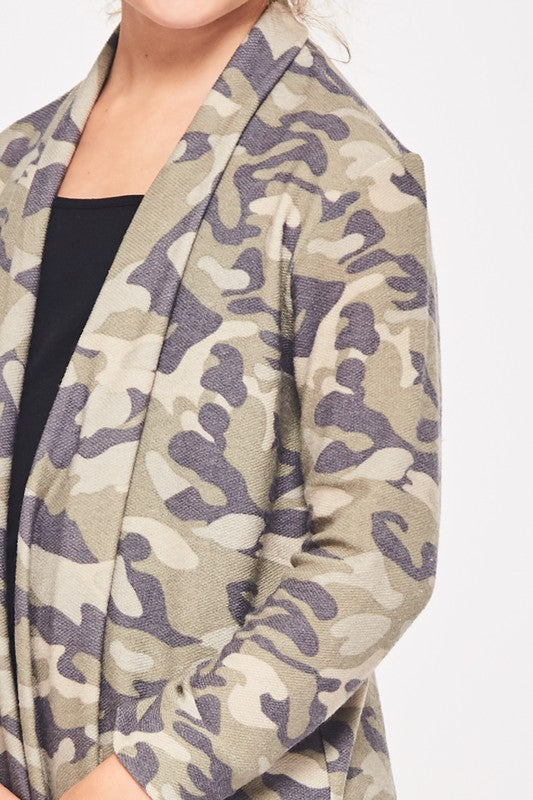 Girls Camo Cardigan - Blush Boutique
