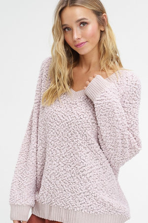V-Neck Chunky Sweater - Blush Boutique