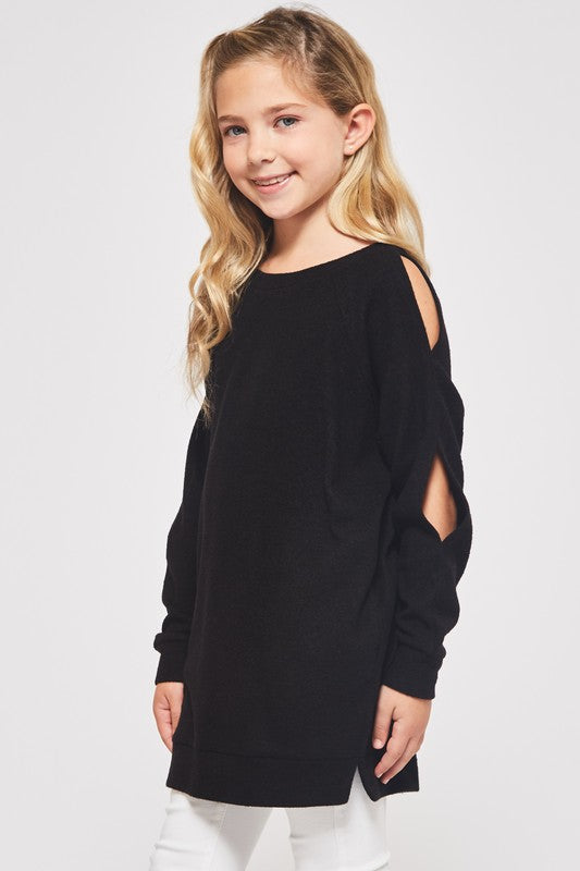 Girls Cut Out Sleeve Sweater - Blush Boutique