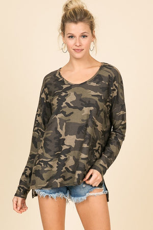 Camo V-Neck Oversized Top - Blush Boutique