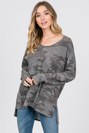 Camo Oversized Top - Blush Boutique
