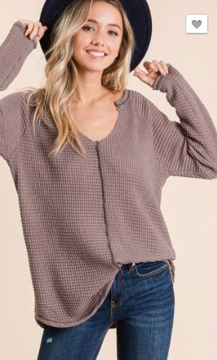 Contrast Stitch Waffle Top - Blush Boutique