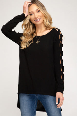 Strappy Sleeve High Low Top