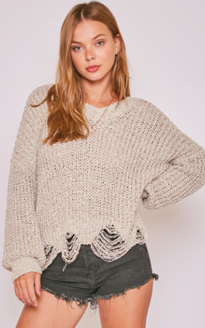 PREORDER Distressed Slouchy Sweater