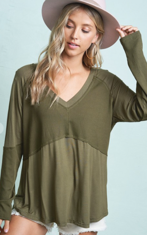 Mixed Fabric V-Neck Top-2 Colors