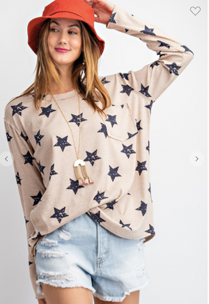 PREORDER Star Print Top- 3 Colors
