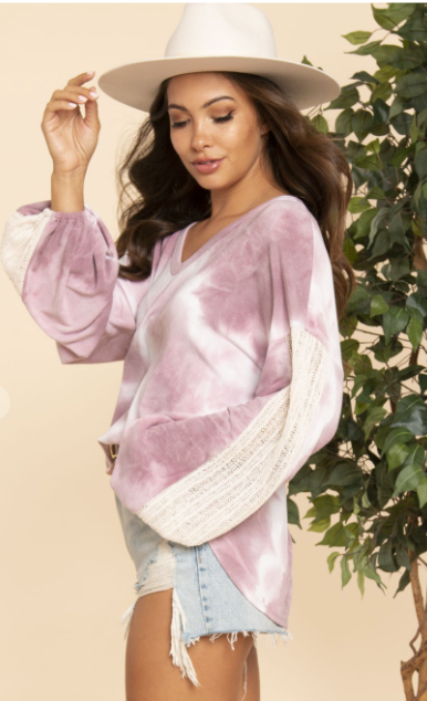 Tie Dye Knit Sleeve Top-2 Colors