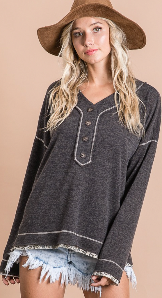 Button V-Neck Top