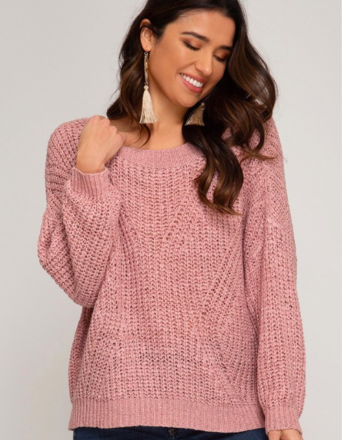 Open Back Detail Sweater - Blush Boutique